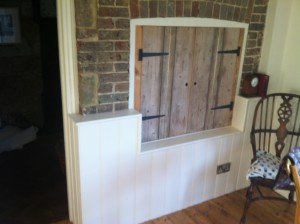 Reclaimed doors for an unusual storage solution