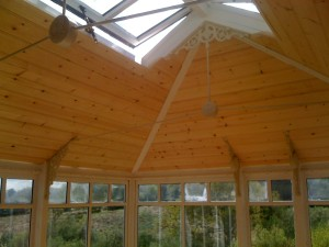 Softwood beaded panneling orangerie roof detail